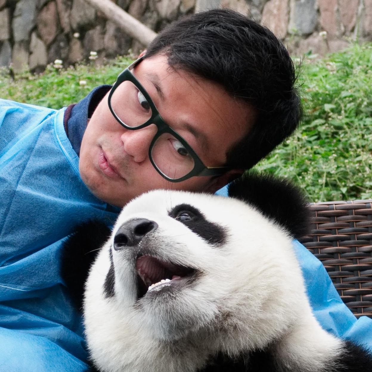 Ben with a baby panda