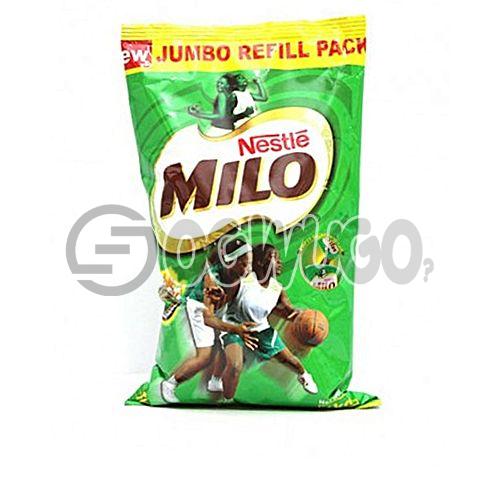 One  kilogram (1kg) nourishing Nestle Milo chocolate, malt and sugar powdered sachet refill.