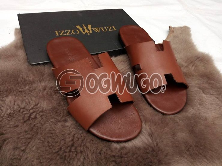 Izzowuzi special men's brown EAZY flip flops; made with strong leather material.
