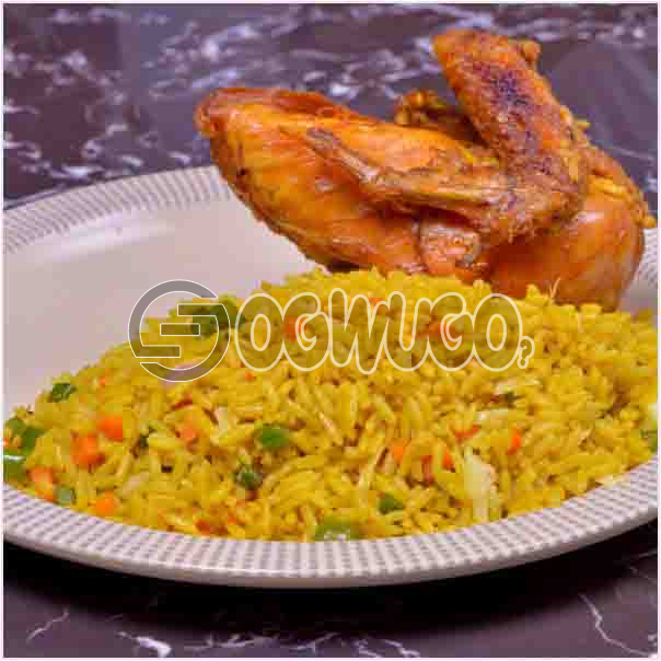 Hot Savory Delicious Spicily Prepared Fried Rice and Tasty Chicken with a very sweet Aroma. Get free water when you order for this item: unable to load image