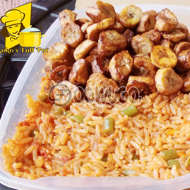 Jollof rice and chicken with plantain (2.5liters)