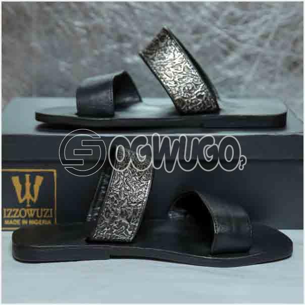 Izzowuzi Men's Prestigious Double Strap Leather Slippers Made in Nigeria by Izzowuzi