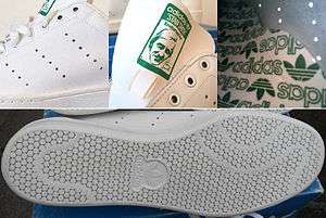 c7c3b367b05 Details of the design of Adidas Stan Smith  (i) the three rows of  perforations (upper-left picture)