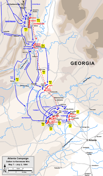 Map Of Georgia Kennesaw.Battle Of Kennesaw Mountain