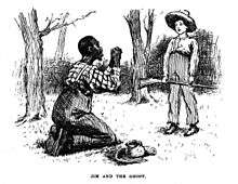 Adventures of huckleberry finn in this scene illustrated by e w kemble jim has given huck up for dead and when he reappears thinks he must be a ghost ccuart Image collections