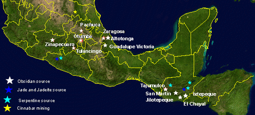 Regional communications in ancient mesoamerica map showing mesoamerican obsidian sources as well as the sources of other important semi precious minerals obsidian use in mesoamerica goes back to the gumiabroncs Images