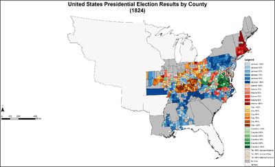United States Presidential Election - Us map 1824