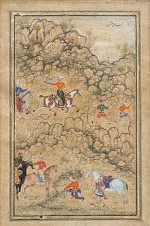 Akbar hawking with Mughal chieftains and nobleman accompanied by his guardian Bairam Khan