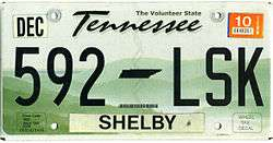 Vehicle registration plates of Tennessee