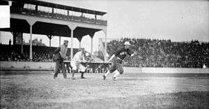 3ce92be87bb Fielder Jones of the White Sox hits the ball against Cubs at West Side  Grounds, 1905