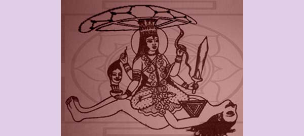 Drawing of Kali In Union with Shiva