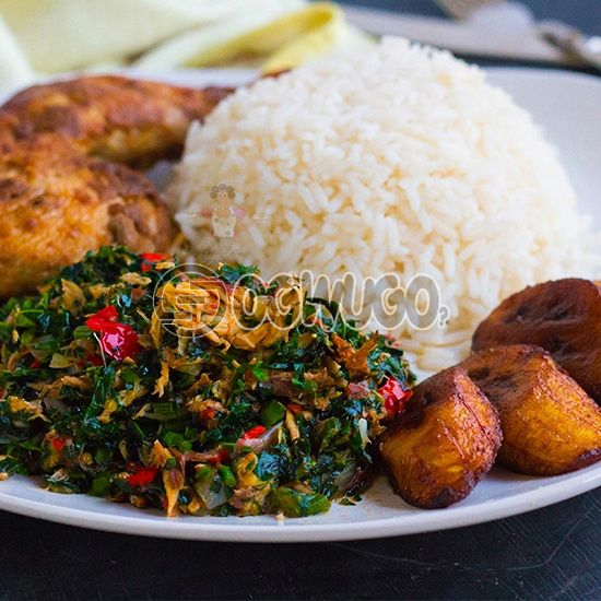 White Rice and Vegetable Stew with Big Chicken and Plantain: unable to load image