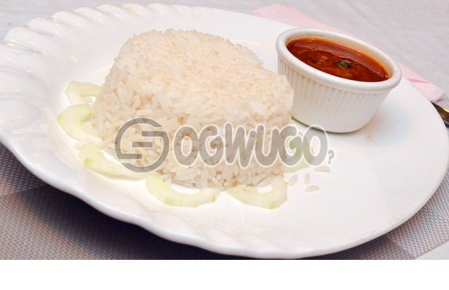 White rice and tomato stew or Ofeakwu (banga soup) with one big meat.: unable to load image