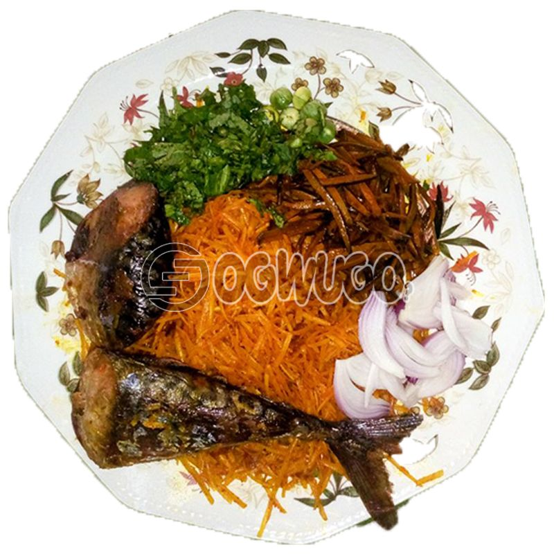 Abacha na Ugba with Barbeque Fish